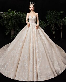 Ball Gown Ivory Long Luxury Tulle Sequin With Train Wedding Dress Long Sleeves