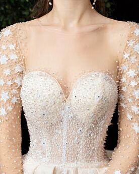 Lange Ärmel Herrlich Brautkleider Pailletten Glitzernden Ivory Transparentes Kirche