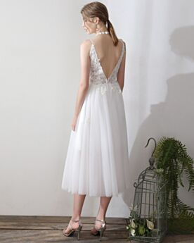 Appliques Tea Length White Open Back Lace Wedding Dress Fit And Flare Cute Simple Spaghetti Strap Sleeveless