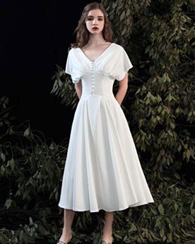 Witte Bruidsjurken Thee Lengte Korte Mouwen Satijnen Fit et Flare Open Rug