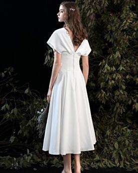 Rückenausschnitt Schlichte Brautkleider Wadenlang Standesamt