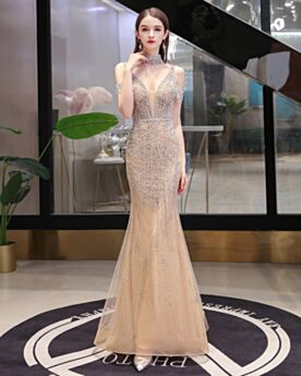 Halter Open Back Beading Long Sparkly Engagement Dresses Plunge Mermaid Luxury Champagne Evening Dresses Beautiful Sequin