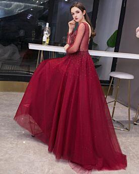 Princesse Tulle Bordeaux Robe De Bal Brillante Chic Manche Longue Robe De Soirée Longue