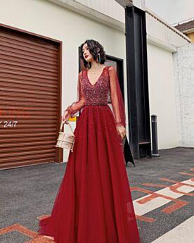Transparente Robe De Ceremonie Perlage Longue Robes De Bal Sequin Robe De Soirée Chic Glitter Princesse Manche Longue Rouge Dos Nu Brillante