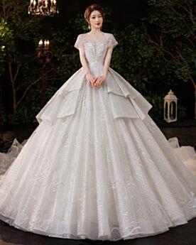 Princesse Belle Perlage À Volants Dos Nu Sequin Avec La Queue Luxe Robe De Mariée Glitter Argenté