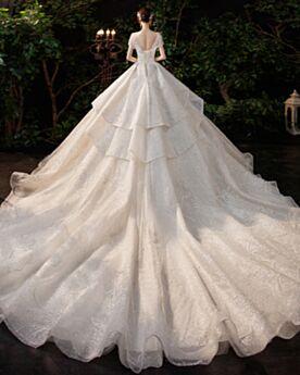 Luccicante Glitter Scollo A Cuore Con Balze Vestiti Da Sposa Lunghi Argento Eleganti Bellissimi Schiena Scoperta Con Paillettes