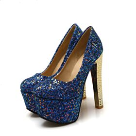 High Heel Party Shoes Sparkly Blue Platform Glitter Red Soles Stilettos Over 5 inch Pumps