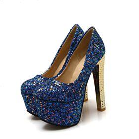 Runde Zeh Über 13 cm Ballschuhe Mit Absatz High Heel Stilettos Mit Rote Sohle Glitzer Royalblau Glitzernden Absatzschuhe