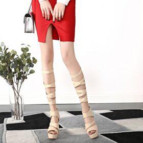 Spring Gladiator Beige Platform 12 cm Stilettos High Heel Open Toe Boots