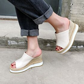 Wedges Comfort Sandals Espadrilles Braided 8 cm High Heel Platform