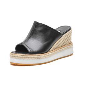Plateau Comfort Hoge Hakken Espadrilles Gevlochten Sandalen Zwart Sleehakken