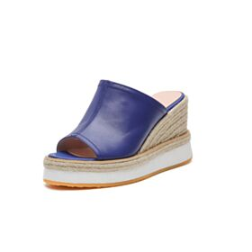 Leather Womens Sandals High Heels Blue Wedges Braided Comfortable Espadrilles