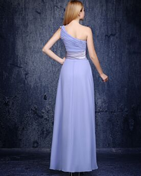 2019 Empire Simple Open Back Pleated Chiffon Bridesmaid Dress Long Wedding Guest Dresses One Shoulder