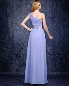 Een Schouder Simpele Lavendel Lange Plooi Bruidsmeiden Jurken Chiffon Empire Jurken Bruiloft