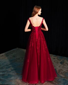 Lace Burgundy Beautiful Sequin Prom Dresses A Line Evening Dresses