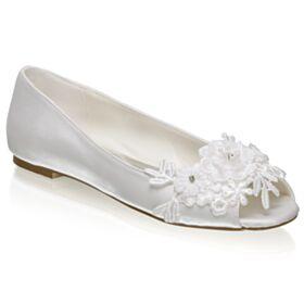 Ivory Ballerina Peep Toe Satin Bridal Shoes Elegant Flat