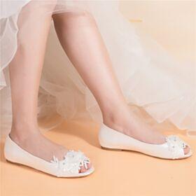 Satijnen Peep Toe Elegante Bruidsschoenen Platte Ballerina