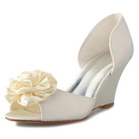 High Heel Bridal Shoes Pumps Shoes Stilettos Platform White Round Toe