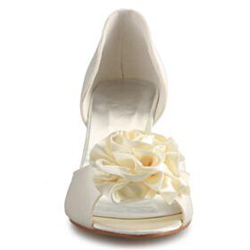 Chaussure De Mariée Sandales Compensées 8 cm Talons Hauts Bout Ouvert
