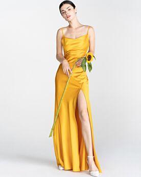 Largos Sin Espalda Amarillo Mostaza Vestidos De Noche Linea A