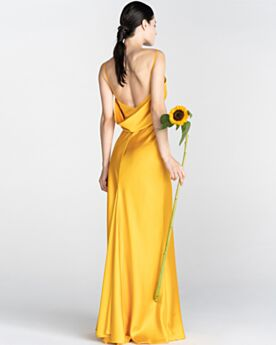 Long Yellow Spaghetti Strap Sleeveless Open Back Vintage Simple Formal Dresses