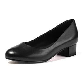 Suela Roja Sencillos Negro Tacon Bajo Cuero Zapatos Tacones
