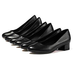 Rond Cuir Escarpins Petit Talon Simple 3 cm / 1 inch Talons Carrés Noir Chaussures Bureau