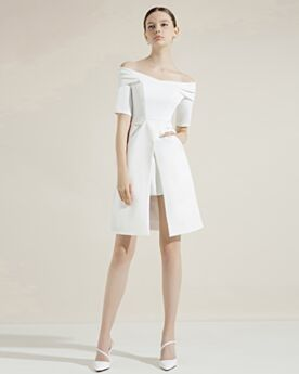 Charming Satin Peplum Cocktail Dress Graduation Dress Juniors Flounce Short Half Sleeve Simple Spring White