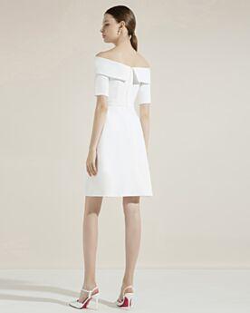 Vestidos De Coctel Dividido Cortos Vestidos De Graduacion Drapeados Hombros Caidos Peplum Blancos Elegantes