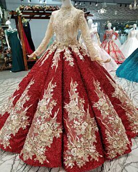 Brillantes De Encaje Manga Larga Quinceañera Vestidos De 15 Años Cuello Alto Princesa De Lentejuelas Rojos Lujo Largos Transparente