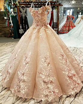 Embroidered Engagement Dress Sequin Lace Ball Gown Quinceanera Dress 2019 Prom Dresses Glitter Rose Gold Gorgeous