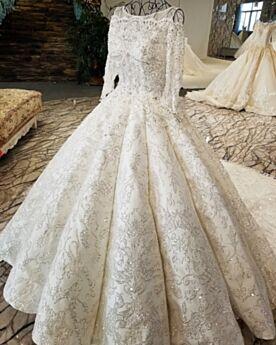 De Encaje Lentejuelas Espalda Descubierta Blancos Brillantes Vestidos De Novia Elegantes Corte Princesa Manga Larga