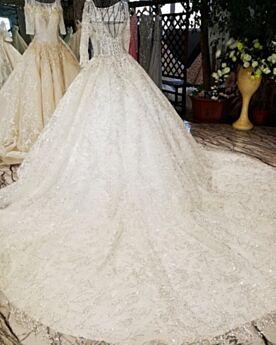 Pailletten Bruidsjurk Ronde Hals Kanten Witte Elegante Baljurk Lange Mouw Applique Sparkle Kralen