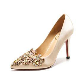 Spitz Zeh Satin 8 cm High Heels Brautjungfer Schuhe Brautschuhe Champagner Gold Elegante Pumps