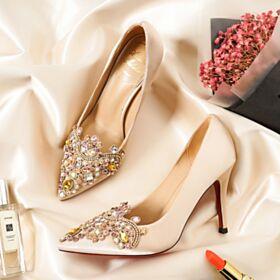 Color Champagne Stiletto Elegantes Tacon Alto Zapatos De Novia Zapatos Tacon