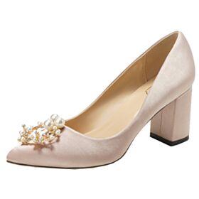 Brautjungfer Schuhe Spitz Zeh Blockabsatz Mit Perle Pumps Comfort Brautschuhe Champagner Gold 5 cm Kitten Heel