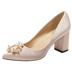 Bridesmaid Shoes 2019 Chunky Heel Pointed Toe Mid Heels Block Heel Wedding Shoes Pumps Shoes
