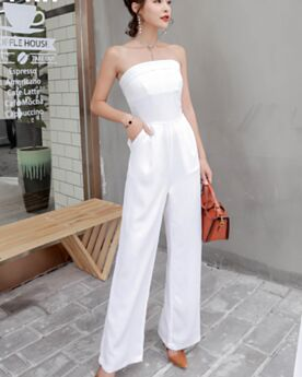 Casual Wear Bandeau White Simple High Waisted Pants Jumpsuits Chiffon Open Back Shift Long