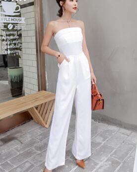 Pantaloni A Vita Alta Estivi Casual Chiffon Lunghi Trapezio Semplici Bianco Jumpsuit Senza Spalline