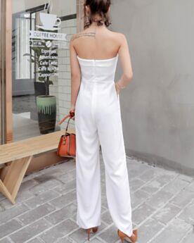 Rechte Strapless Hoog Getailleerde Droek Casual Zomer 2019 Lange Chiffon Jumpsuits Witte Open Rug Mouwloze