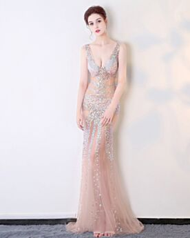 Open Back Evening Dress Club Dresses Long Sequin Sexy Plunge Transparent Sheath Gala Dress