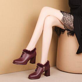 Blokhakken Leren Enkellaarsjes 8 cm High Heels