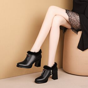 Ankle Boots 2019 Winter Chunky Heel Schwarz