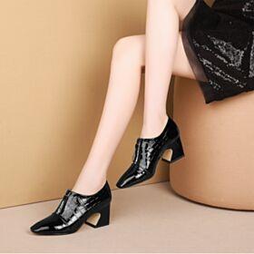 Blockabsatz Schwarz Business Schuhe Damen Leder Eckigem Chunky Heel Oxford Schuhe Krokodil Gedruckt