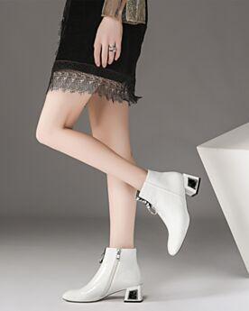 Kitten Heels Gefütterte Ankle Boots Winter Chelsea Boots Weiß Leder Comfort
