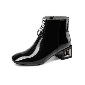 Chunky Heel Gefütterte Schwarz Chelsea Schuhe Bequeme 5 cm Kitten Heels Stiefeletten