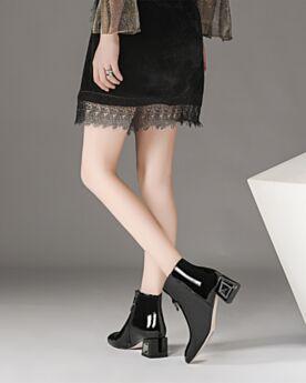 Chelsea Charol 5 cm Tacon Modernos Informales Zapatos De Dia De Cuero Botines Mujer Negros Tacon Ancho