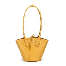 Leder Schöne Tasche Umhängetasche Gelb Modern