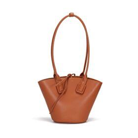 Modern Schöne Mit Griffe Gurt Handtasche Leder Umhängetasche Bucket Bag Braun