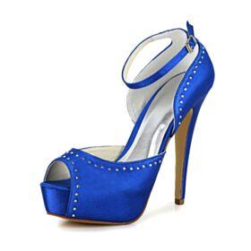 Trouwschoenen Stiletto 13 cm High Heels Plateau Satijnen Mooie Pumps Enkelband Kobaltblauwe Met Steentjes Peep Toe